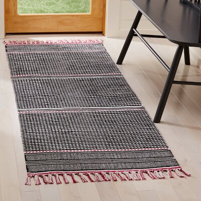 Granada Hand-Woven Pink/Gray Area Rug Rug Size: Runner 23 x 7