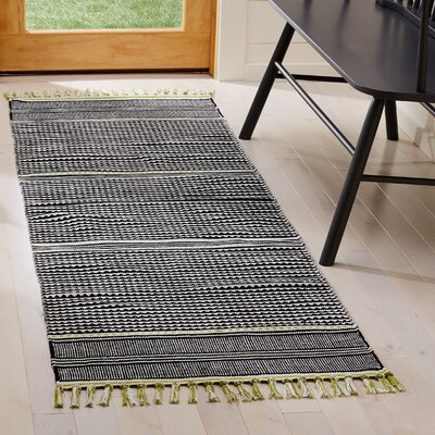 Granada Hand-Woven Lime/Gray Area Rug Rug Size: Runner 23 x 7