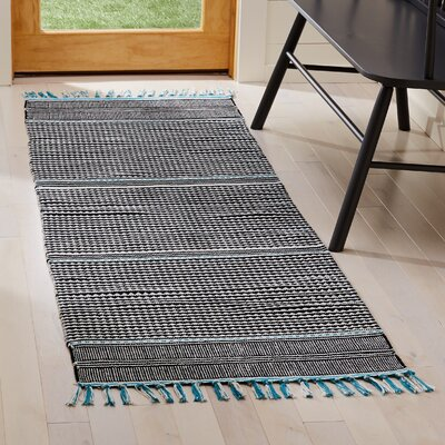 Granada Hand-Woven Turquoise/Gray Area Rug Rug Size: Runner 23 x 7