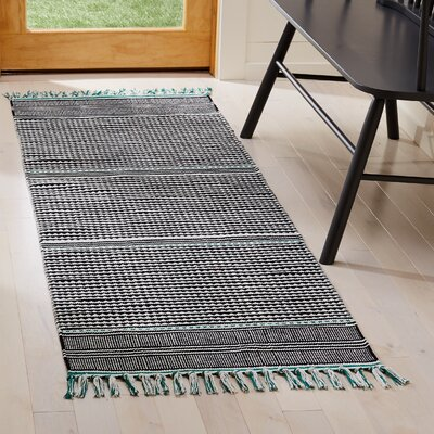 Granada Hand-Woven Teal/Gray Area Rug Rug Size: Runner 23 x 7