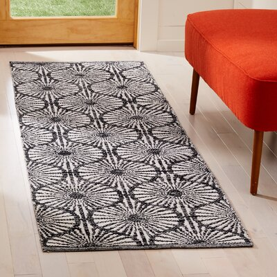 Oak Hill Hand-Woven Black/Ivory Area Rug Rug Size: Runner 23 x 7