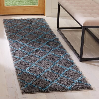 Amicus Gray/Turquoise Area Rug Rug Size: Runner 23 x 8