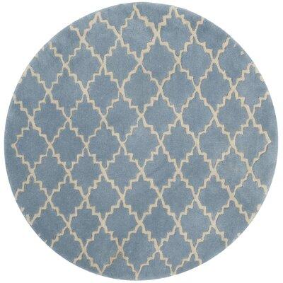 Wilkin Blue Cream Area Rug Rug Size: Round 7