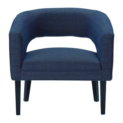 Quintanar Driftwood Barrel Chair Upholstery: Blue