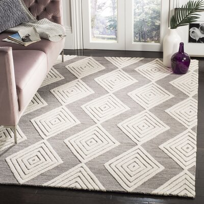 Pizano Hand-Woven Wool Dark Gray/Ivory Area Rug Rug Size: Square 6
