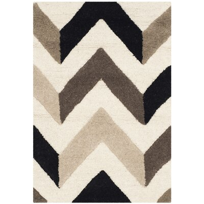Shaler Hand-Tufted Ivory/Black Area Rug Rug Size: Rectangle 2 x 3