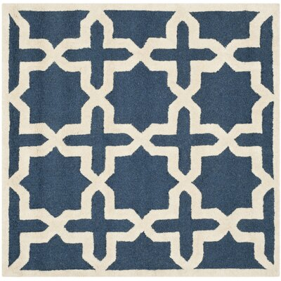 Martins Navy Blue / Ivory Area Rug Rug Size: Rectangle 4 x 4