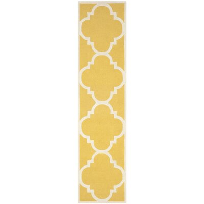 Martins Hand-Tufted Gold/Ivory Area Rug Rug Size: Runner 26 x 12