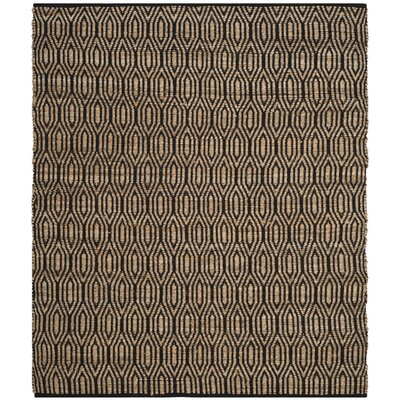 Astor Place Hand-Woven Black/Natural Area Rug Rug Size: Square 6