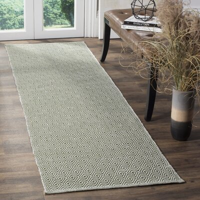 Shevchenko Place Hand-Woven Ivory/Green Area Rug Rug Size: Runner 23 x 8