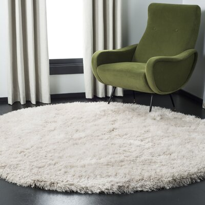 Feng Hand-Tufted White Area Rug Rug Size: Round 8