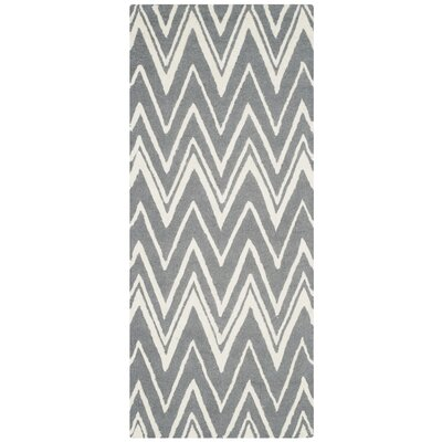 Martins Hand-Tufted Wool Gray/Ivory Area Rug Rug Size: Runner 26 x 6