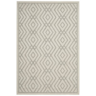 Cabana Light Gray/Cream Indoor/Outdoor Area Rug Rug Size: Rectangle 4 x 6