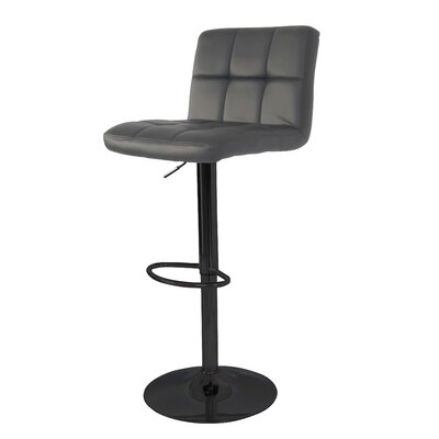 Ransome Adjustable Height Swivel Bar Stool Base Color: Black, Uplolstery: Gray