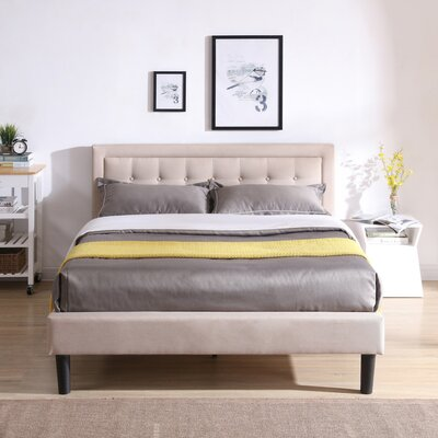 Pinheiro Upholstered Platform Bed Color: Off White, Size: Queen