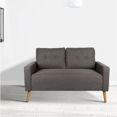 Ramsdell Mid Century Modern Loveseat Upholstery : Gray