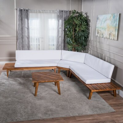 Bynum Modular Sectional with Ottoman Upholstery: White