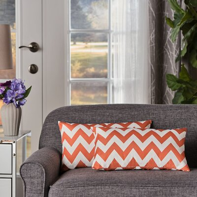 Swigart Rectangular Indoor/Outdoor Lumbar Pillow Color: Orange/White