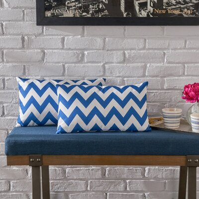 Swigart Rectangular Indoor/Outdoor Lumbar Pillow Color: Blue/White