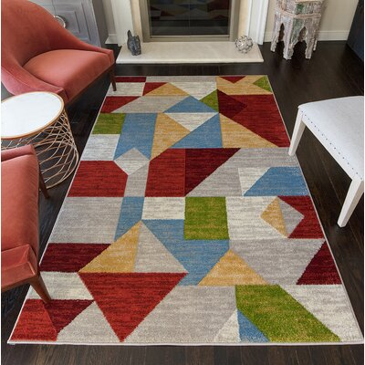 Mckinzie Geometric Red/Gray Area Rug Rug Size: 8' x 10'