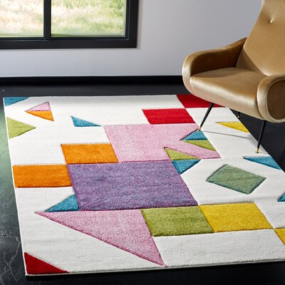 Severs Ivory/Rose Area Rug Rug Size: Square 67