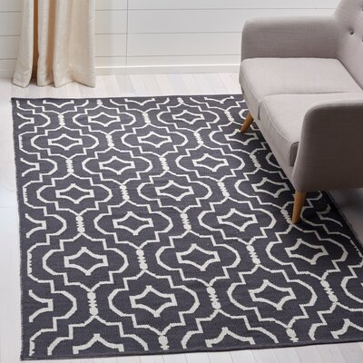 Rennie Hand-Woven Dark Gray/Ivory Area Rug Rug Size: Rectangle 5 x 8