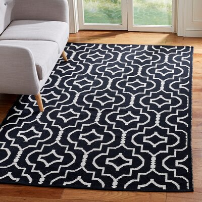 Rennie Hand-Woven Black/Ivory Area Rug Rug Size: Rectangle 5 x 8