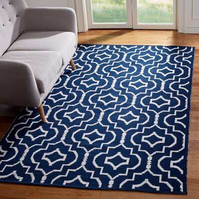 Rennie Hand-Woven Navy/Ivory Area Rug Rug Size: Rectangle 5 x 8