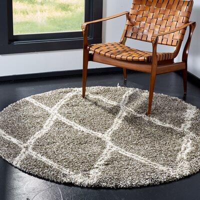 Elizabeth Street Gray/Ivory Area Rug Rug Size: Round 5