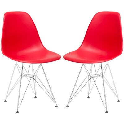 Rafael Contemporary Side Chair Upholstery: Red