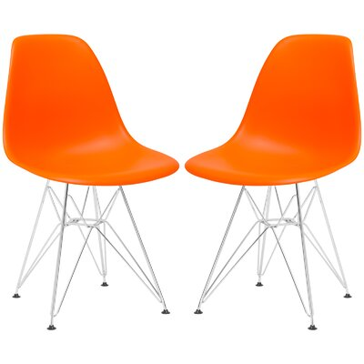 Rafael Contemporary Side Chair Upholstery: Orange