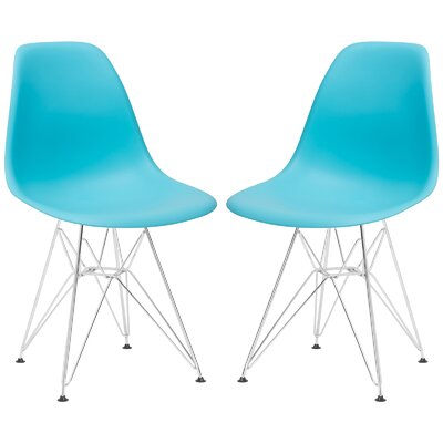 Rafael Contemporary Side Chair Upholstery: Aqua