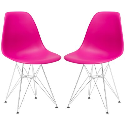 Rafael Contemporary Side Chair Upholstery: Fuchsia