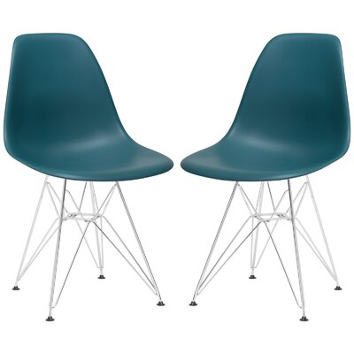 Rafael Contemporary Side Chair Upholstery: Teal