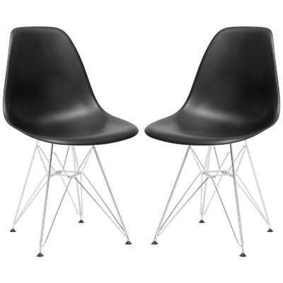 Rafael Contemporary Side Chair Upholstery: Black