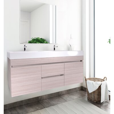 Byrns 48 Double Bathroom Vanity Set Base Finish: Latte