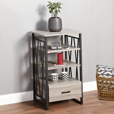 Piccolo End Table with Storage Color: Black / Gray