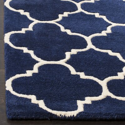 Wilkin Circle Dark Blue & Ivory Area Rug Rug Size: Rectangle 6 x 9