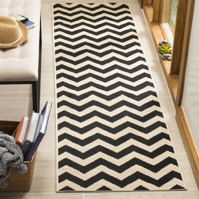 Jefferson Place Black & Beige Outdoor/Indoor Area Rug Rug Size: Runner 23 x 8