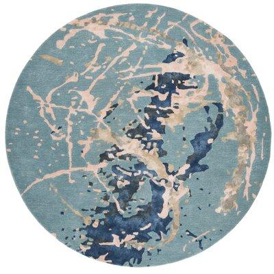 Schaub Hand-Tufted Blue Area Rug Rug Size: Round 6