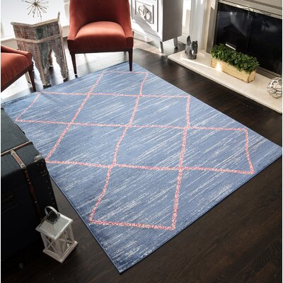 Mckinstry Tribal Blue Area Rug Rug Size: 5'3