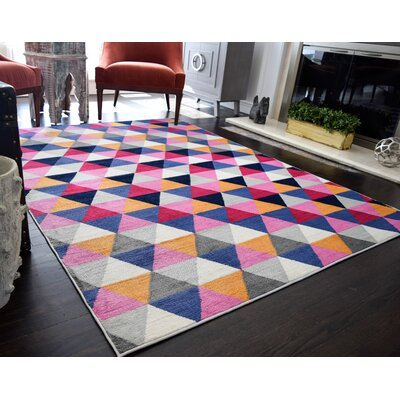 Mckinstry Tribal Yellow/Pink/Blue Area Rug Rug Size: 5'3