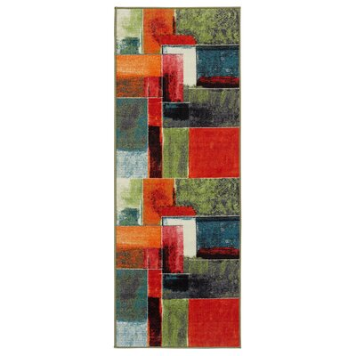 Heier Red/Green/Yellow Area Rug Rug Size: Runner 23 x 6