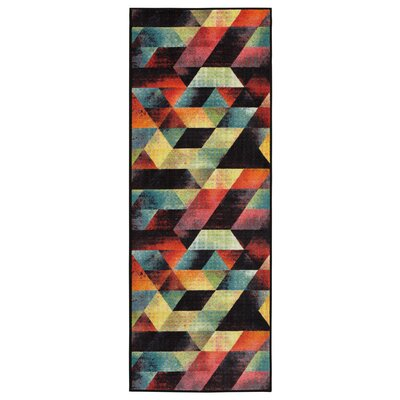 Heier Blue/Orange/Pink Area Rug Rug Size: Runner 23 x 6