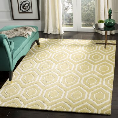 Vanderford Hand-Tufted Wool Light Gold/Ivory Area Rug Rug Size: Rectangle 5 x 8