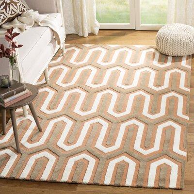 Martins Hand-Tufted Orange/Grey Area Rug Rug Size: Rectangle 5 x 8