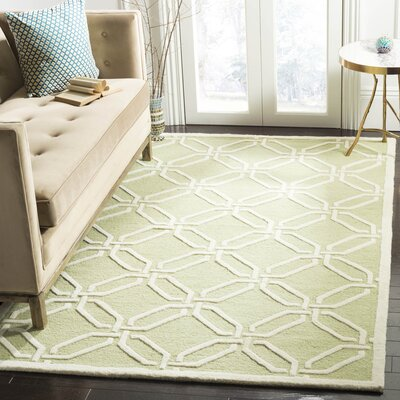 Martins Hand-Tufted Lime/Ivory Area Rug Rug Size: Rectangle 5 x 8