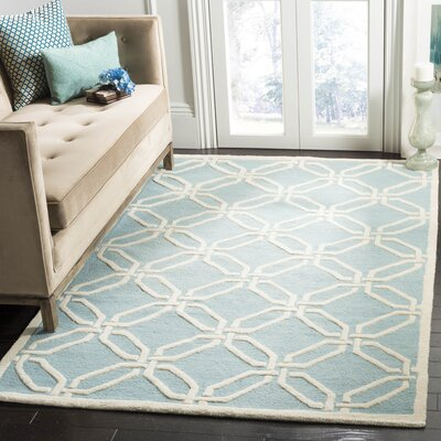 Martins Hand-Tufted Light Blue/Ivory Area Rug Rug Size: Rectangle 5 x 8