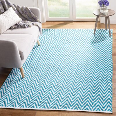 Whitton Hand-Woven Turquoise/Ivory Area Rug Rug Size: Rectangle 5 x 7