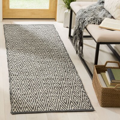 Shevchenko Place Hand-Woven Cotton Gray Area Rug Rug Size: Runner 23 x 7